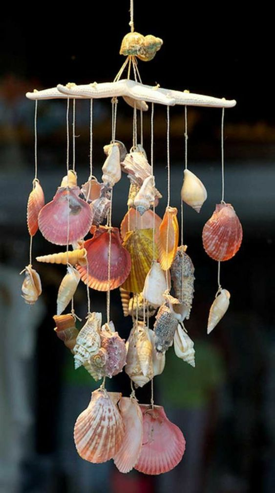 make a pretty seashell and starfish wind chime for your garden for this summer
