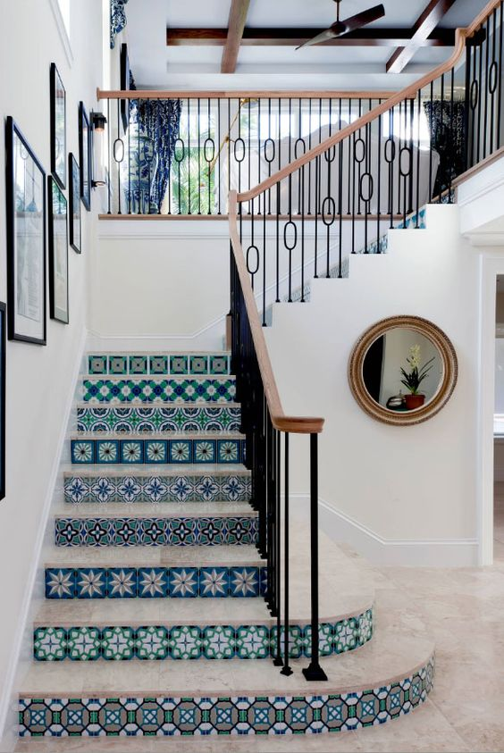 a beautiful seaside staircase with risers clad with blue azulejo tiles looks just gorgeous and amazing