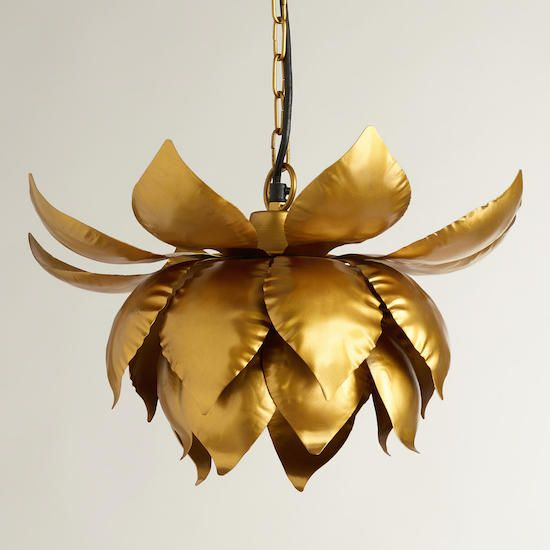 a chic brass lotus pendant lamp on chain is a gorgeous statement lighting fixture to rock