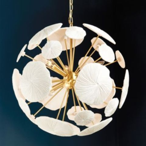 a round flower-inspired chandelier in gold and white is a very chic and cool piece for a chic statement