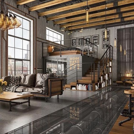 53 Stylish And Inspiring Industrial Living Room Designs ...
