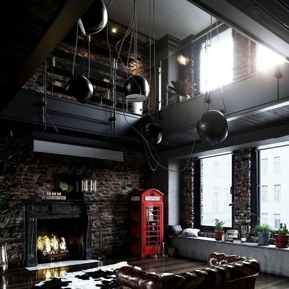 brick walls, metal sphere pendant lamps, blackened steel decor and concrete