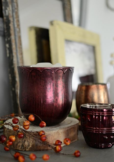 vintage inspired burgundy glass candle holders for making a fall accent at home
