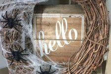 a cute rustic wreath for Halloween