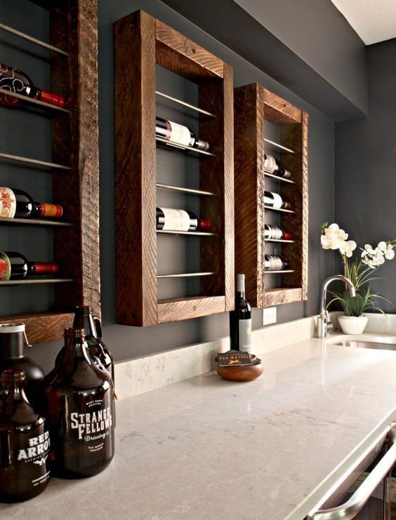 wall-mounted framed wooden shelves for wine bottles will give a rustic feel and a stylish look to your home bar