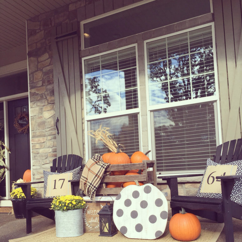 Faux pumpkins is a great way to add some fun to the front porch.