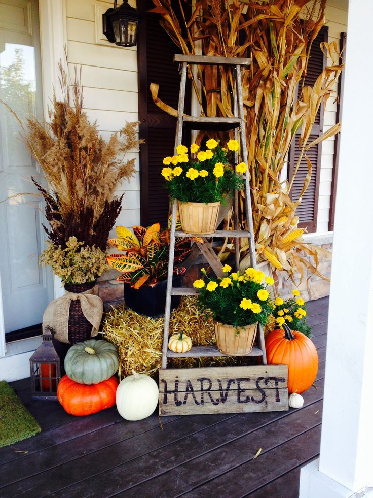A wooden ladder is a perfect base for your Thanksgiving porch arrangement.