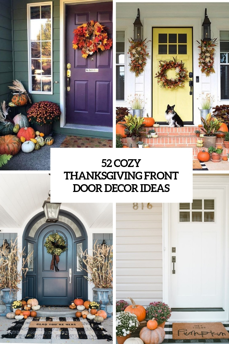 52 Cozy Thanksgiving Front Door Décor Ideas