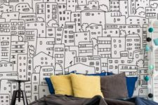 a black and white city sketch wall mural is a bold idea for a teen or dorm bedroom, it works well with colorful touches