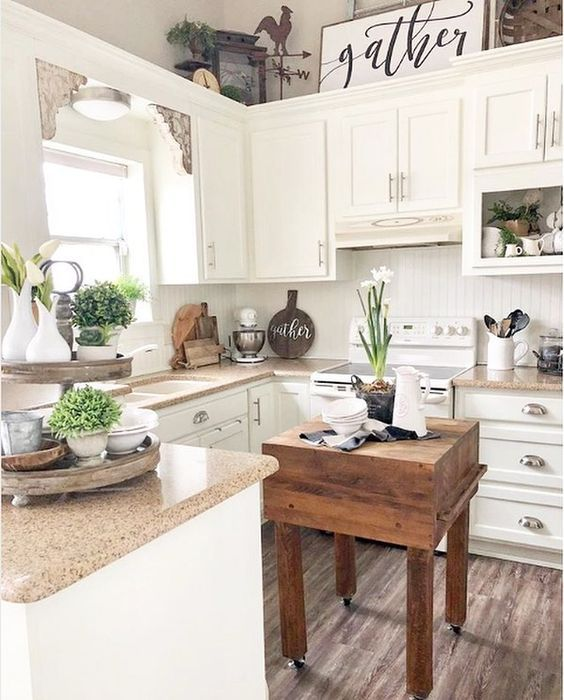 a little neutral cottage kitchen with vintage cabinets, stone countertops, potted plants and a small cart kitchen island that contrasts the space