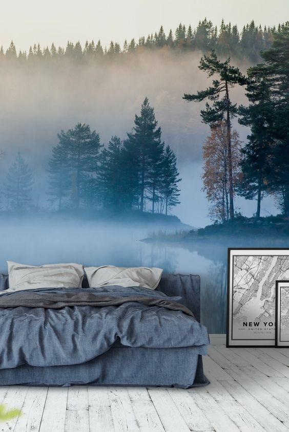 a misty forest and lake wall mural makes your bedroom fele more relaxing and you can feel like you are going to bed outdoors