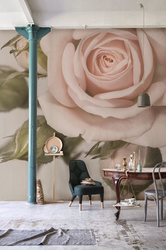 a refined space with a blush rose wall mural that brings ultimate elegance and chic to the room