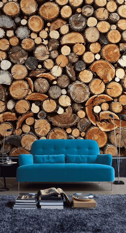 a wood slice wall mural will bring coziness, warmth and eye-cathciness to your space at the same time
