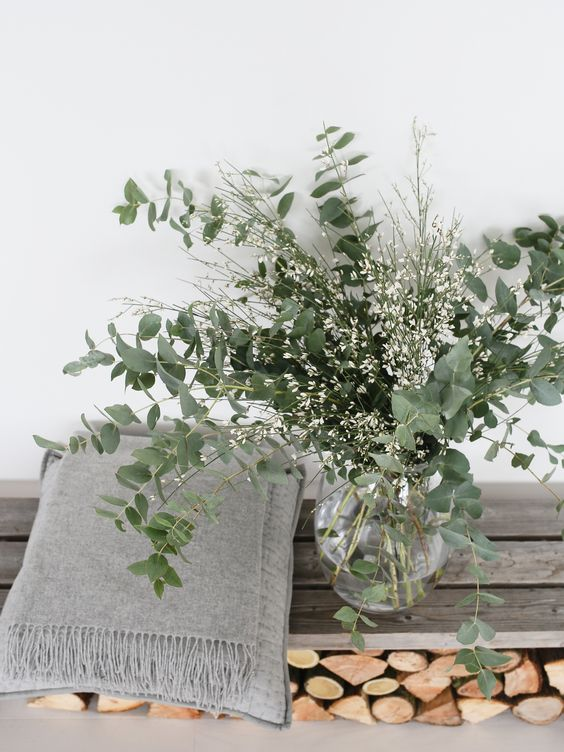 a clear vase with eucalyptus and white blooms is a simple and modern flower arrangement to enjoy
