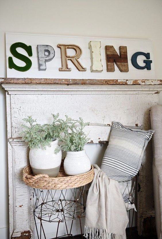 a fun spring sign with mismatching letters of various pieces, colors and sizes is a lovely idea