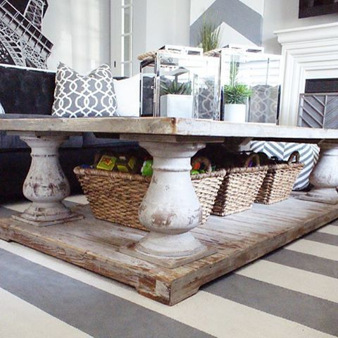 a shabby chic coffee table with basket drawers inserted under the tabletop to store things comfortably