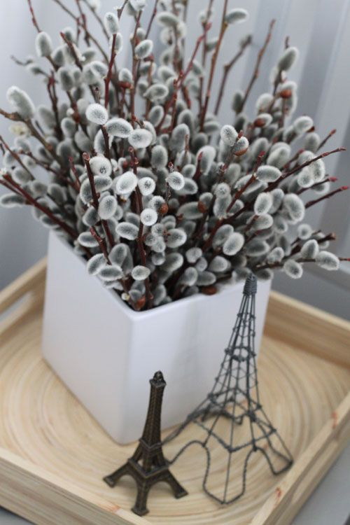 a white square vase with willow is a lovely non-floral spring arrangement that feels comfy and very spring-like