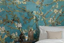 chic teal cherry blossom wallpaper is a nice idea for a statement wall, it's a spring-like feel to the space
