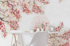 watercolor cherry blossoms on the wall make the home office cute, tender and chic