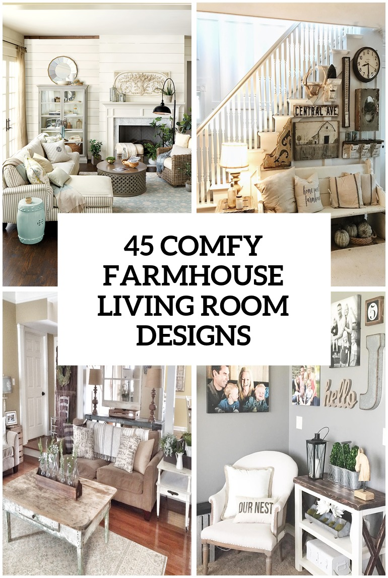 45 comfy farmhouse living room designs to steal - Farmhouse Great Room Plans