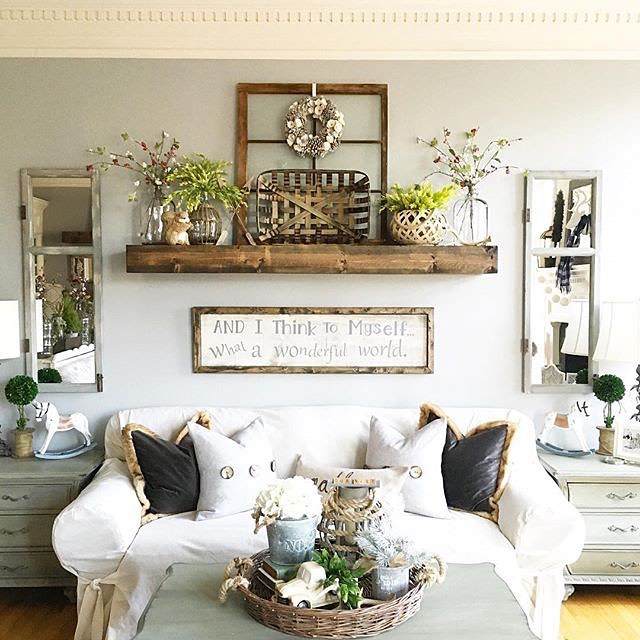 45 comfy farmhouse living room designs to steal digsdigs Over the sofa wall decor ideas