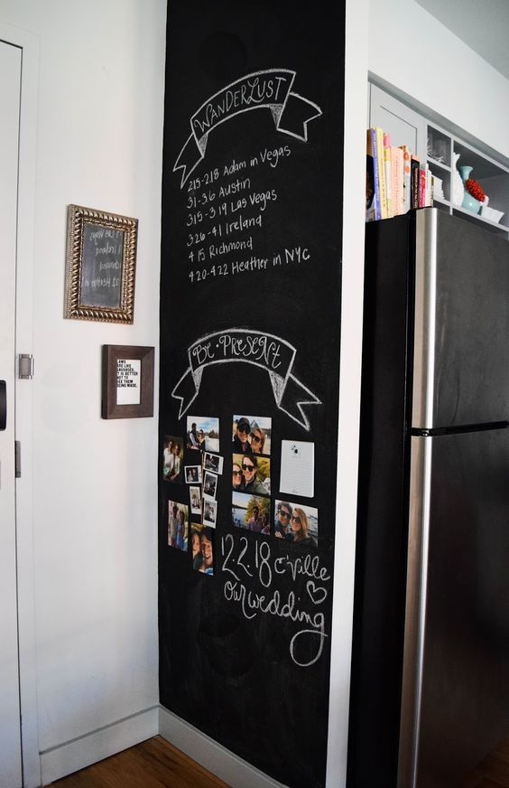 a chalkboard wall to make notes and leave grocery lists is always a good idea for any kitchen