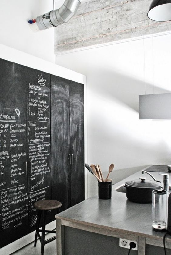 a contemporary industrial kitchen with cabinetry fully covered with chalkboard paint is a lovely and bold idea to rock