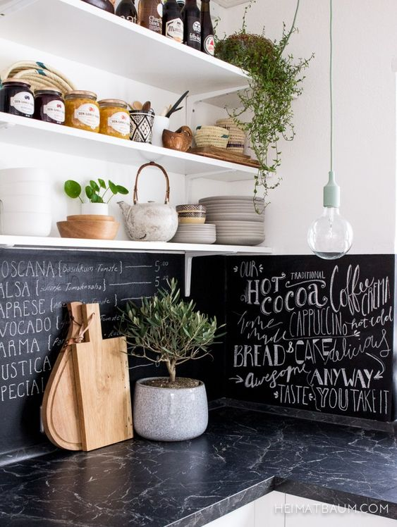 a contemporary white kitchen with dark stone countertops, a chalkboard backsplash to match it and look cool