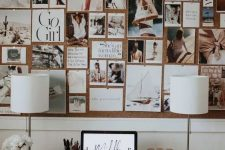 a creative photo collage right on your corkboard is a lovely decor idea for a home office or any other space