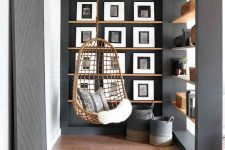a nook with built-in wooden ledges that perfect for displaying any photos and pics