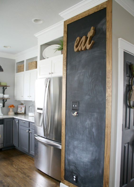 a piece of wall taken by a chalkboard with a frame and an EAT sign is a lovely idea for a rustic kitchen