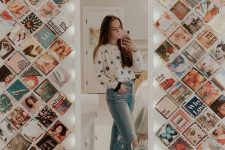 a tall mirror and color photos from Instagram attached to the wall on both sides of it is a lovely and fun decor idea