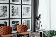 an elegant black and white gallery wall with pics in black frames is a stylish decor idea for any space