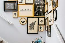 go for an awkward nook decorated with a lovely vintage gallery wall with gold and black frames