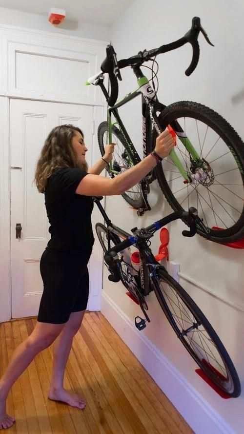 a horizontal bike storage system allows to store it comfortably and with style at the same time