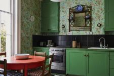 a cute kitchen design with a floral wallpaper