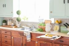 a chic vintage farmhouse kitchen with stained and blue cabinets, neutral countertops, potted greenery and printed textiles