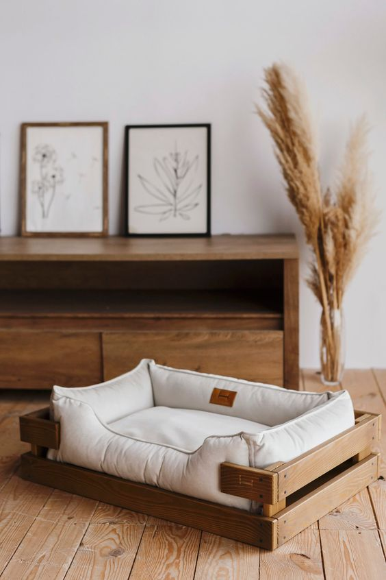 a crate bed with an additional soft bed on top is a lovely idea for a rustic or boho interior and you can DIY that
