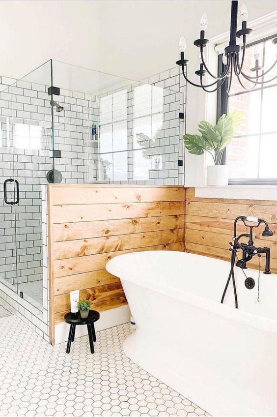a farmhouse bathroom design with stylish trendy decor elements