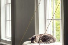 a folding cat bed on chains with a cozy and soft pillow and faux fur will let your cat look outside
