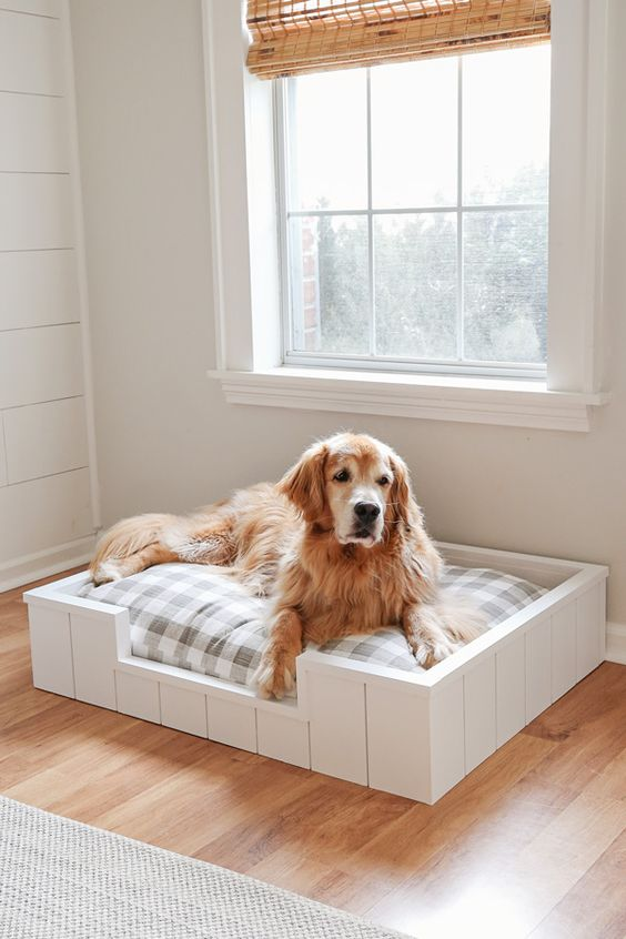 a stylish rustic dog bed of white planks, with a grey plaid cushion is a lovely and stylish idea for a rustic interior