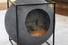 a super stylish sphere cat bed in a cube will highlight your interior and make it wow