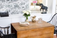 a wooden drop leaf table is a great piece for a rustic space and can be used anytime