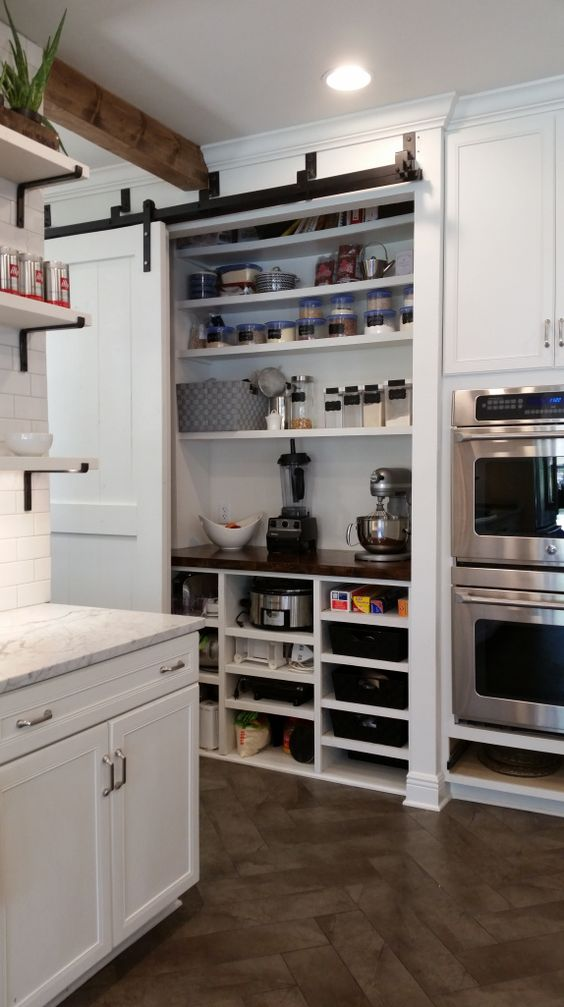 a built in pantry with a sliding door holds various appliances, spices, food, jars and tableware is a very smart solution to hide everything
