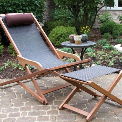 a folding lounger of wood and with durable fabrics plus a matching footrest or ottoman are a nice setup for a modern space