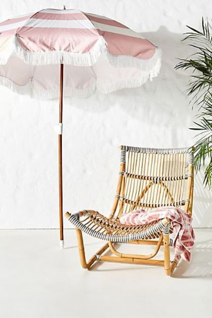 a gorgeous wicker lounger with rope looks very tropical and very island like, add some textiles and go