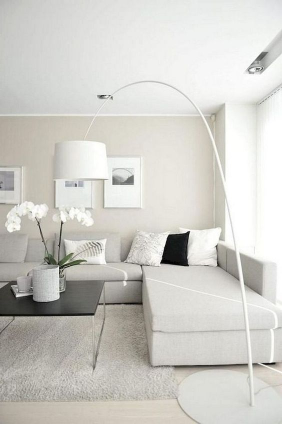 a neutral minimalist living room with an off-white sectional sofa, a floor lamp, artworks and potted blooms