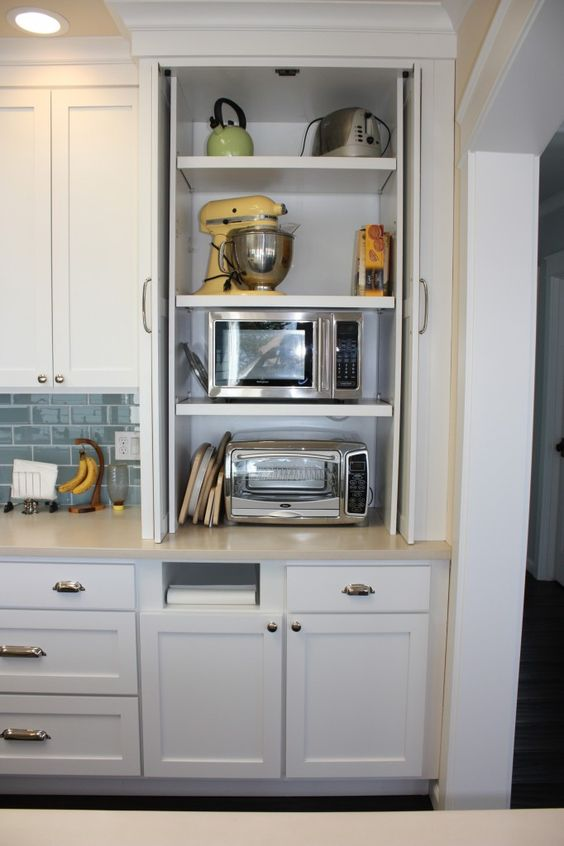 a small cabinet for storing various appliances is a cool idea for a storing things and for decluttering the kitchen