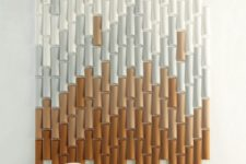 catchy bamboo-inspired acoustic panels done with an ombre effect will keep the sounds away