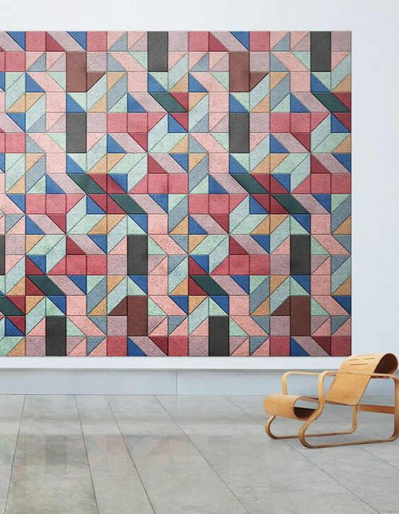 colorful geometric acoustic panels will be not only a sound-proofing option but also an artwork
